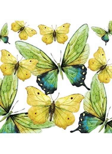 Dünya Style Green Butterflies Peçete Renkli